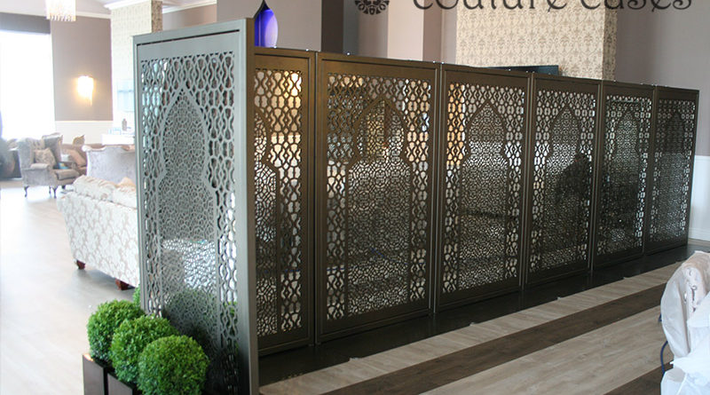 Laser cut metal room partitions and mirror screens