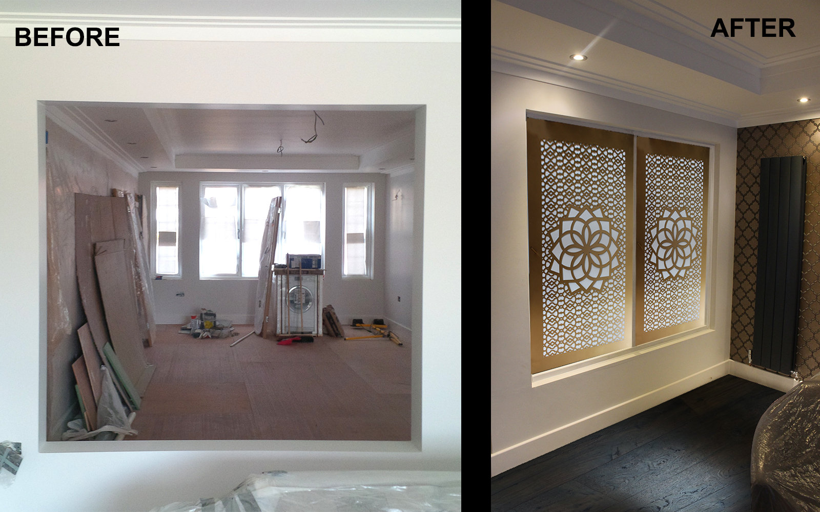 Decorative room partitions and window screens