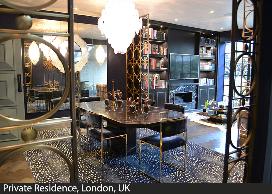 Decorative laser cut brass screens for London home