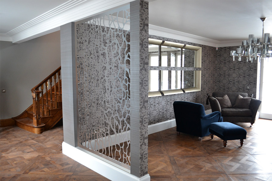 Modern laser cut room partition
