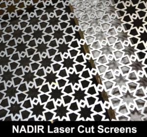 NADIR Laser cut metal screens in fine mesh perforated patternz