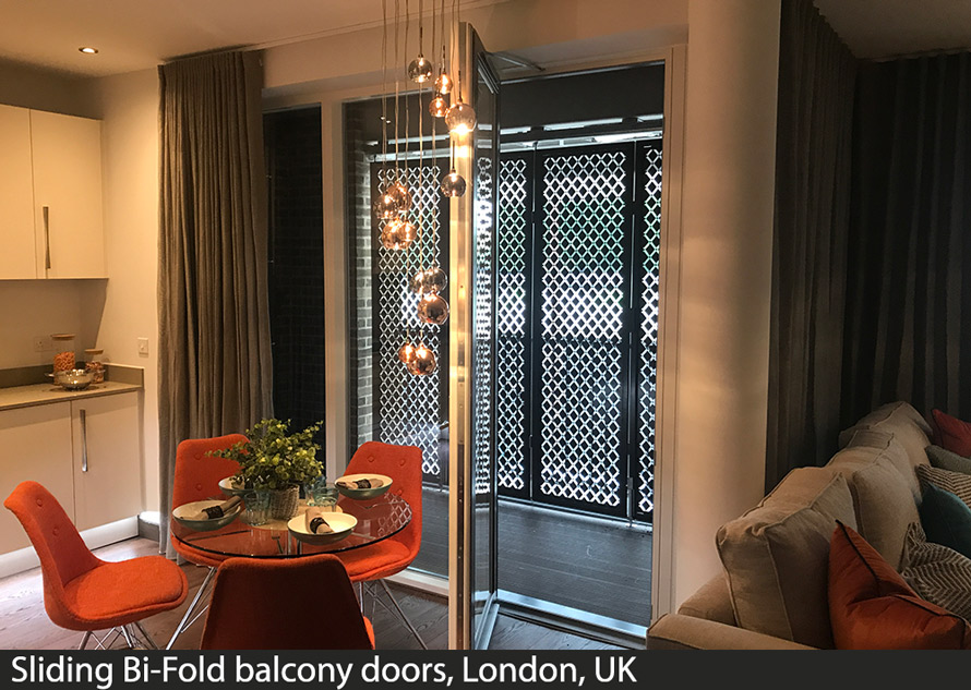 sliding bi fold doors in custom fretwork design