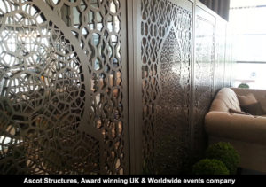 Freestanding laser cut mirror screens for UK events company