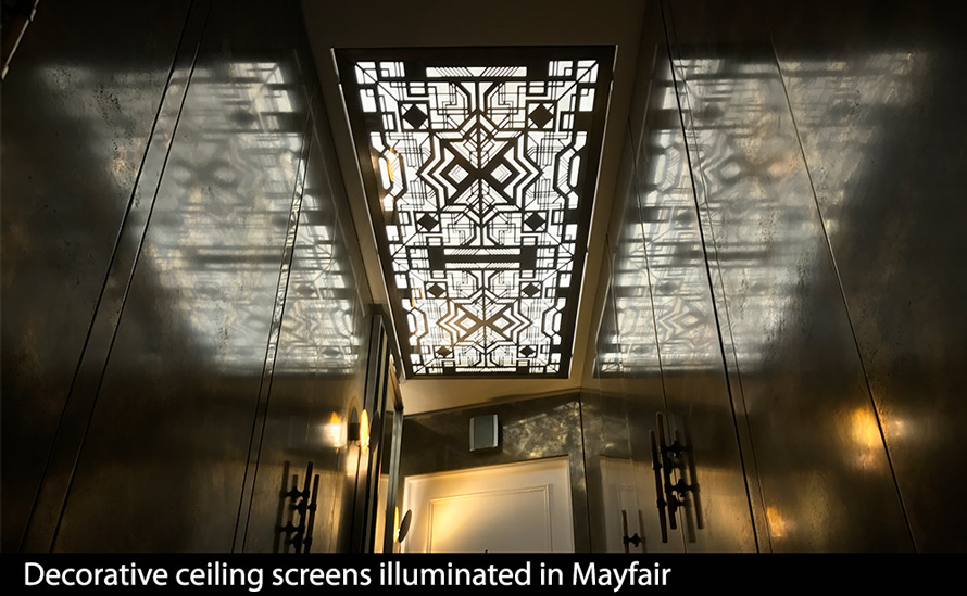 decorative ceiling screens in art deco fretwork with lighting