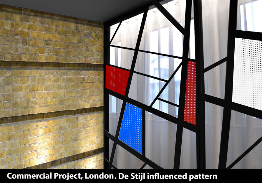 DE Stijl window screens in red black blue