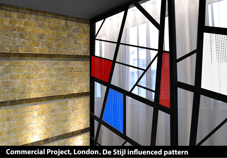 DE Stijl window screens in red black blue