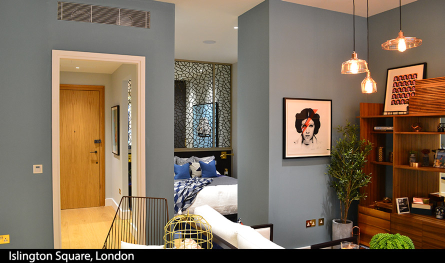 Decorative laser cut screens and wall mirrors at Islington Square London