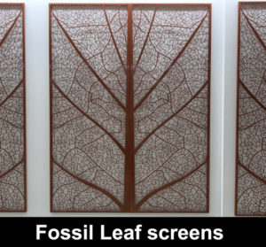Fossil leaf laser cut wall screens
