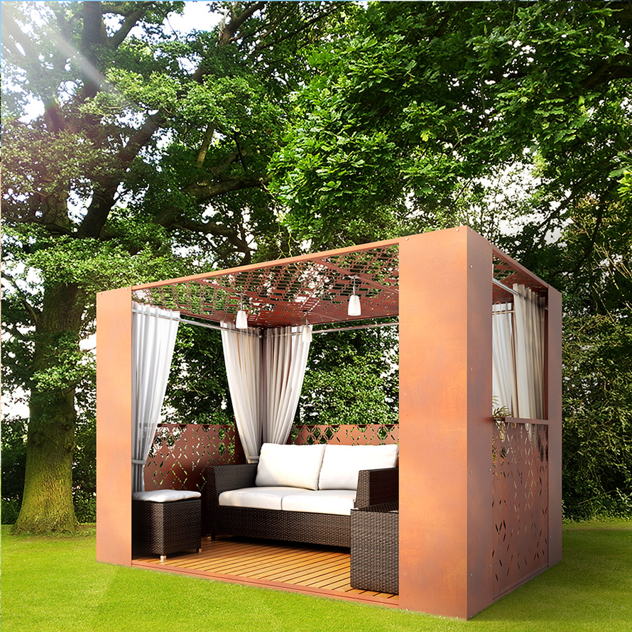 Hex Crush corten steel modern gazebo 3m x 2m