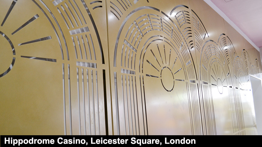 Hippodrome Casino Leicester Square London gold laser cut screens