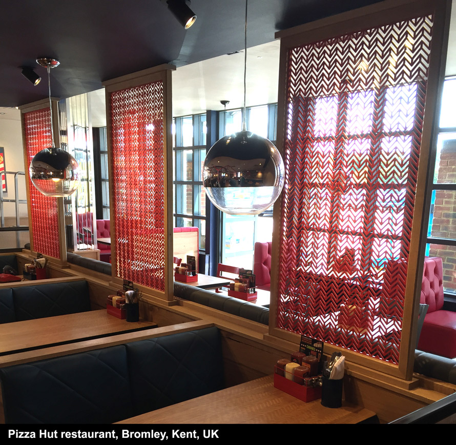 Laser cut screens Pizza Hut restaurant Bromley Kent UK