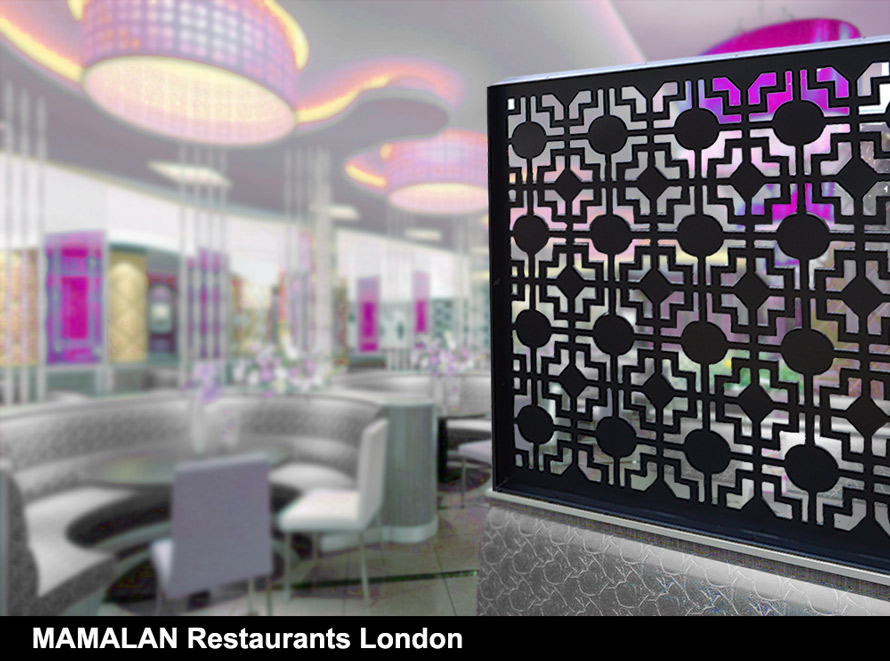 MAMALAN satin black laser cut restaurant screens