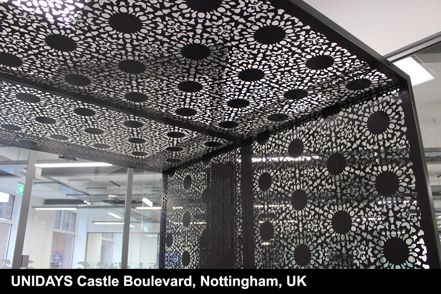 Nottingham Lace laser cut screens in satin black