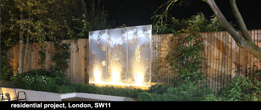 PORTO Triptych garden screens in stainless steel laser cut metal
