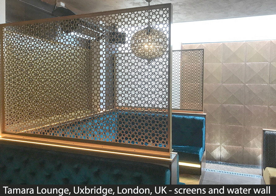 Shisha bar laser cut screens and water wall