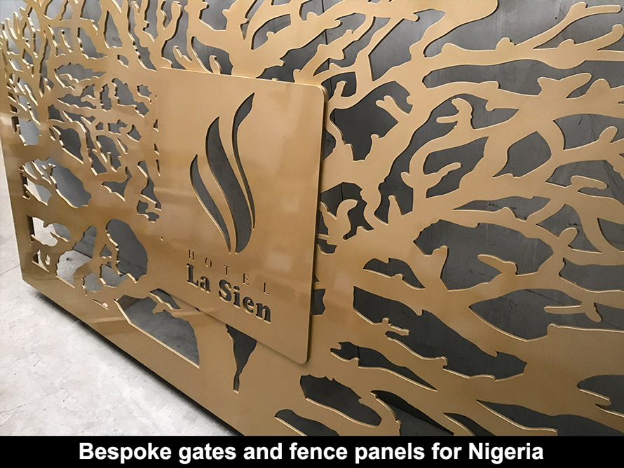 Decorative bespoke laser cut gates for Nigeria hotel