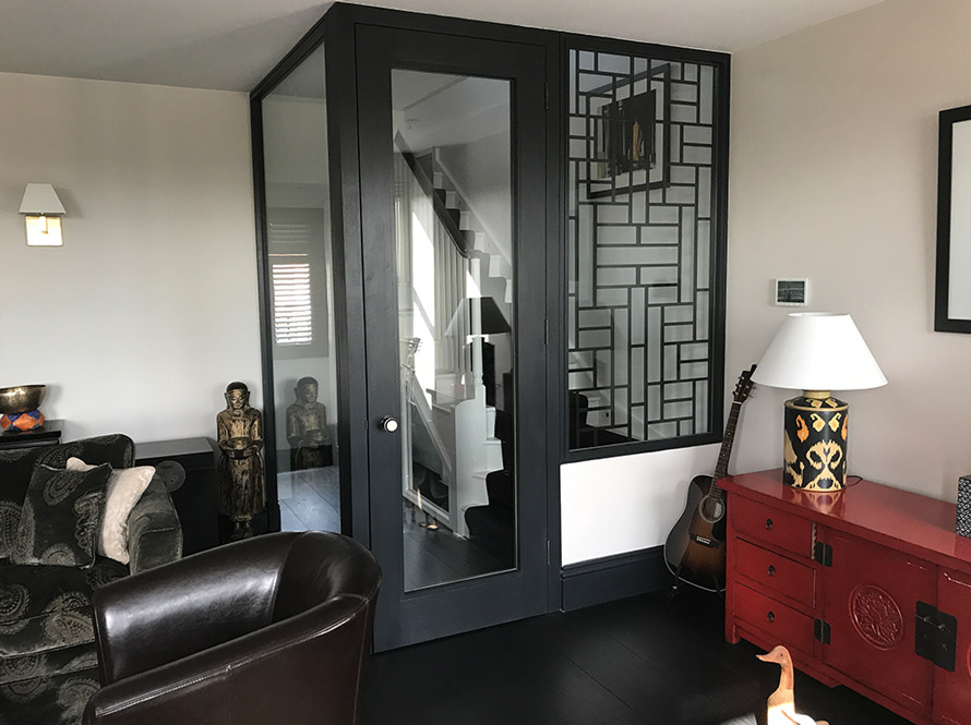 bespoke room partitions custom made in geometric pattern