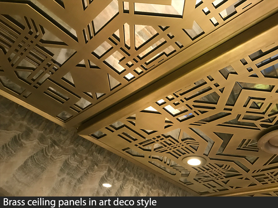 decorative brass fretwork ceiling panels in art deco pattern