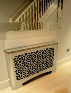 hallway casa radiator covers galvanised with mirror top and arabic fretwork in SPARK design