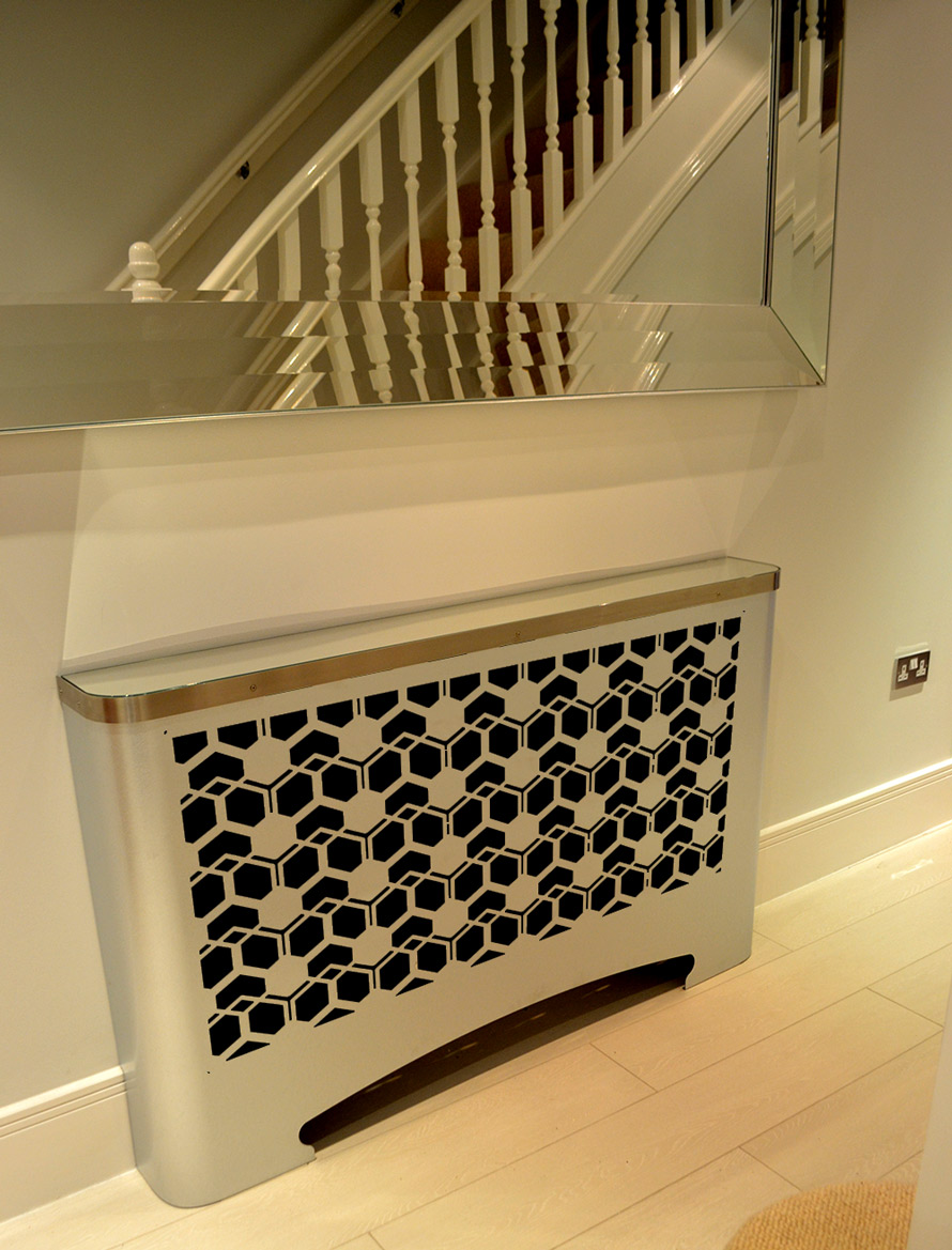 Modern Hallway Radiator Cover In Geometric Cubic Design Laser Cut Screens For Architectural And Home Interiors
