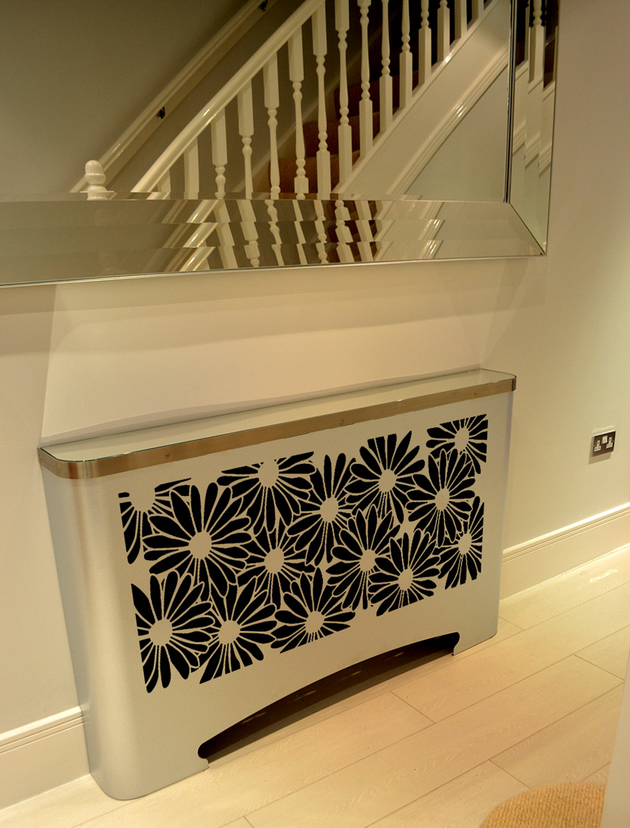 Modern Hallway Radiator Cover In Floral Daisies Design Laser Cut Screens For Architectural And Home Interiors