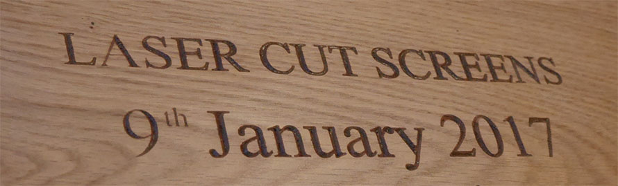 Laser cut CNC lettering on wood frame and tops