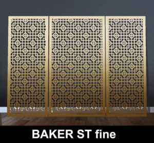 baker st medium scale laser cut screen in fine brass metal