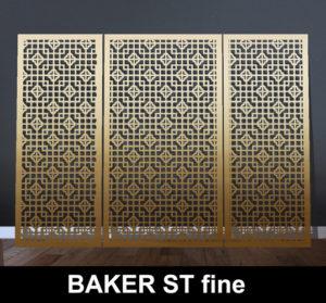 baker st medium scale laser cut screen in fine brass metal
