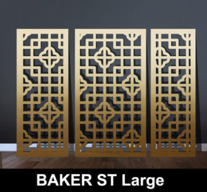 baker st fine scale laser cut screen in brass