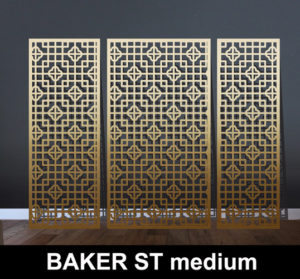 baker st medium scale laser cut screen in brass metal