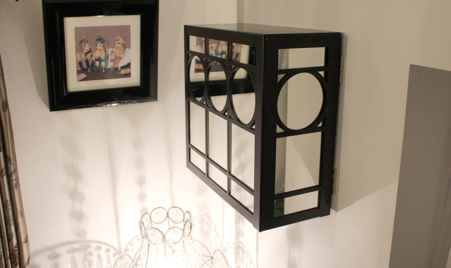 art deco fusebox cover with mirror glass design
