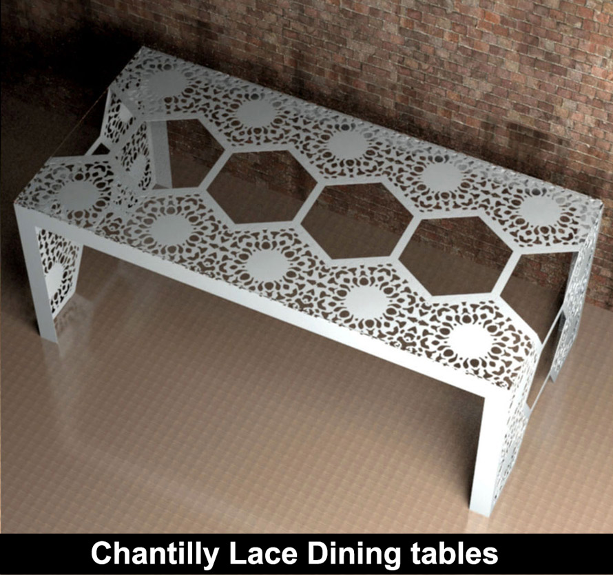 Chantilly Lace modern fretwork dining table with glass top