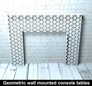 Geometric wall mounted console tables for modern homes and commercial interiors