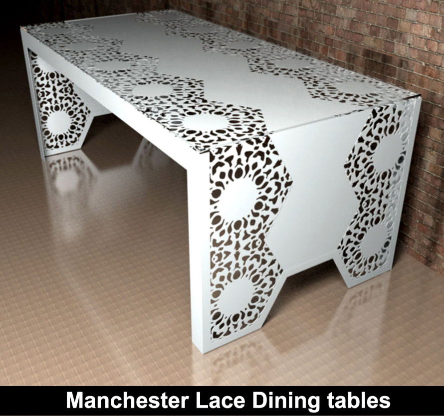 Manchester Lace modern fretwork dining tables with glass top
