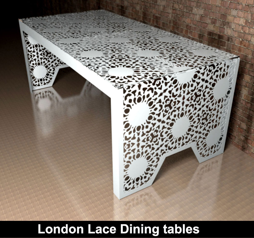 Custom made dining tables in London Lace design