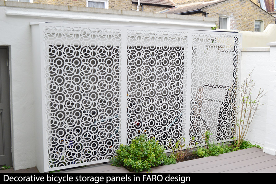FARO decorative bike storage panels