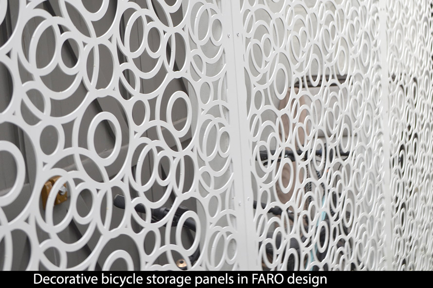 FARO decorative bike security screens for outdoor use