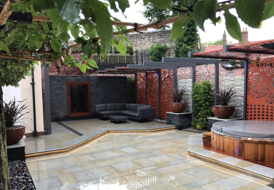 custom made garden pergola panels with TV in copper metallic colour
