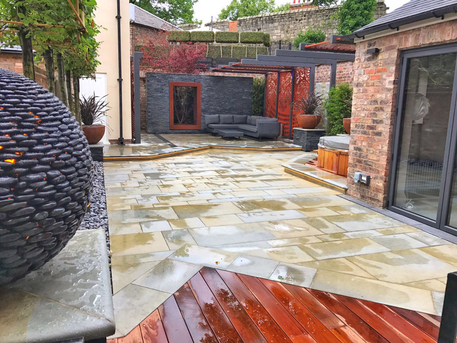 custom made garden pergola panels with Black TV in copper metallic colour