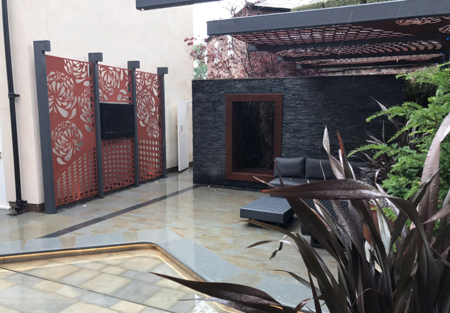custom made garden pergola panels with Black TV in copper metallic colours