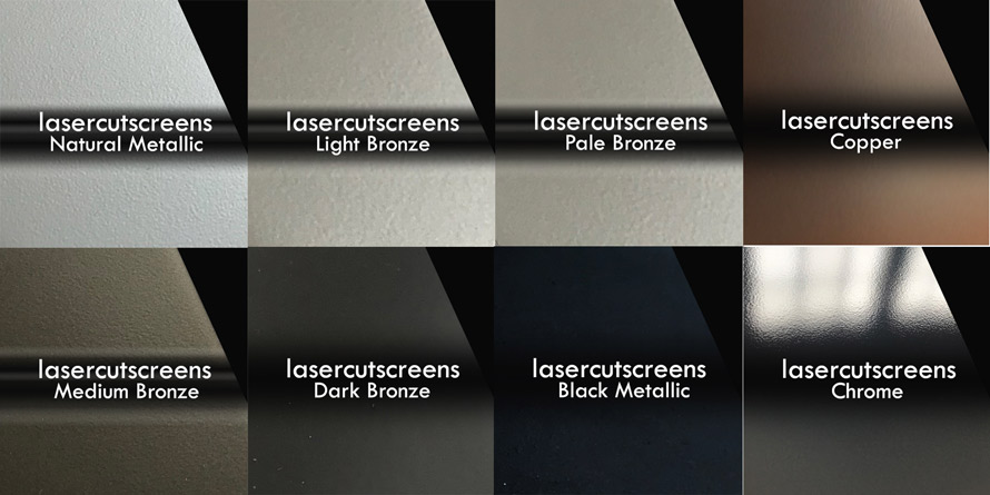 Bronze and copper metallic colours for laser cut screens