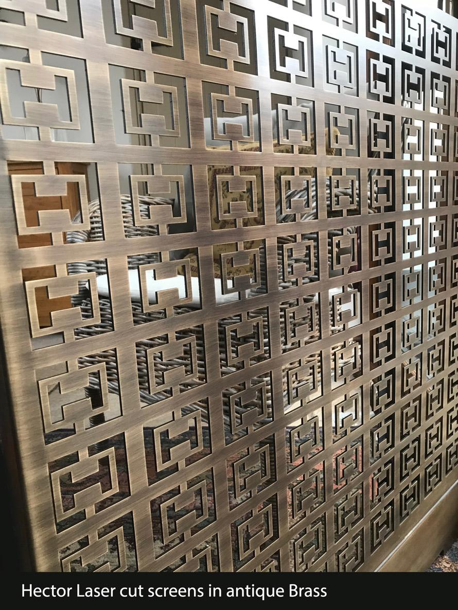 Hector Laser cut screens in antique Brass