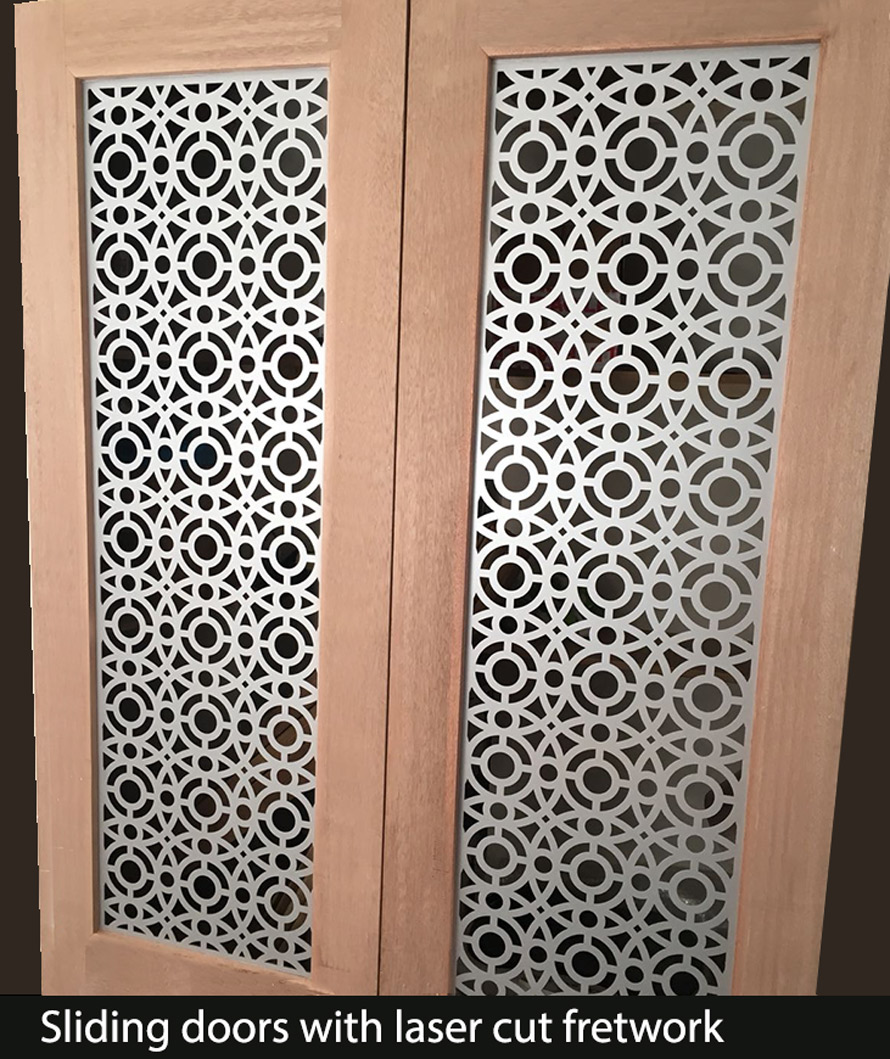 Decorative fretwork metal sliding doors