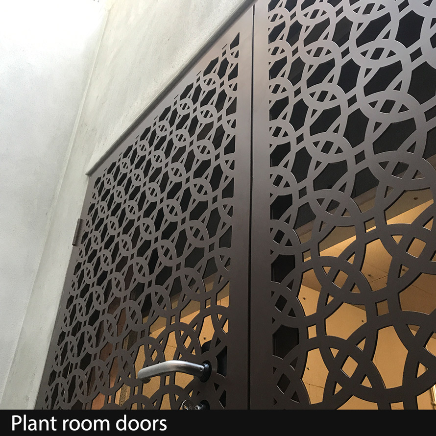 Plant Room Doors in laser cut fretwork metal