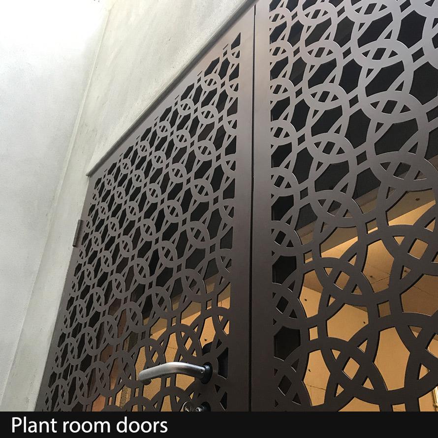 Plant Room Doors in laser cut fretwork metal
