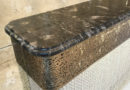 art deco black marble antique brass console table