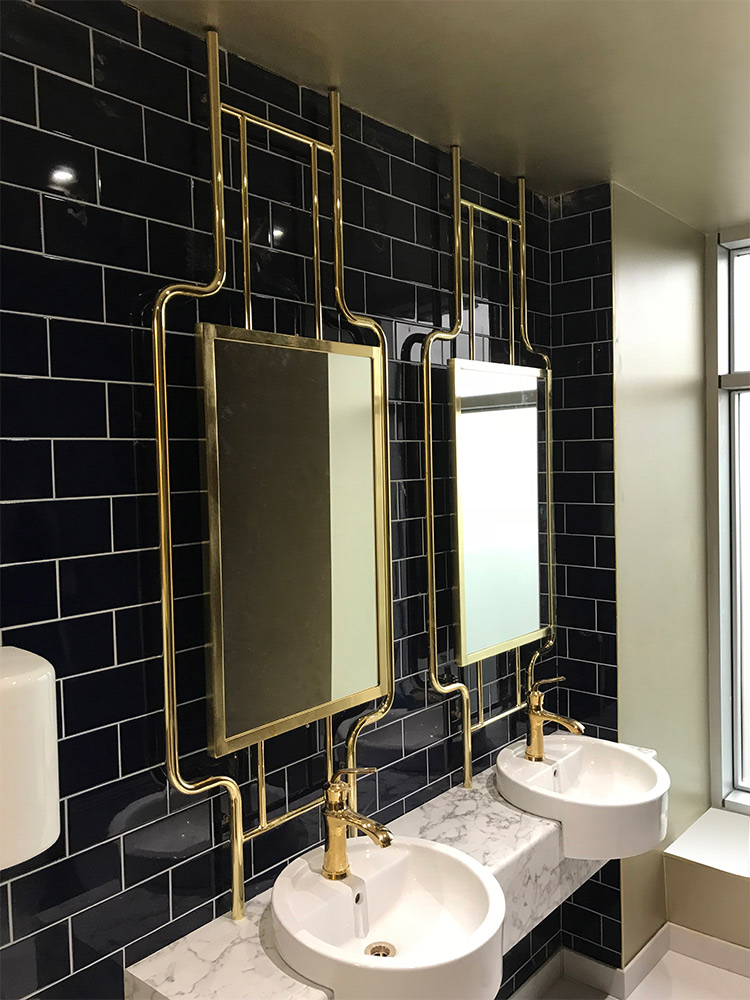 Bespoke brass art deco mirrors
