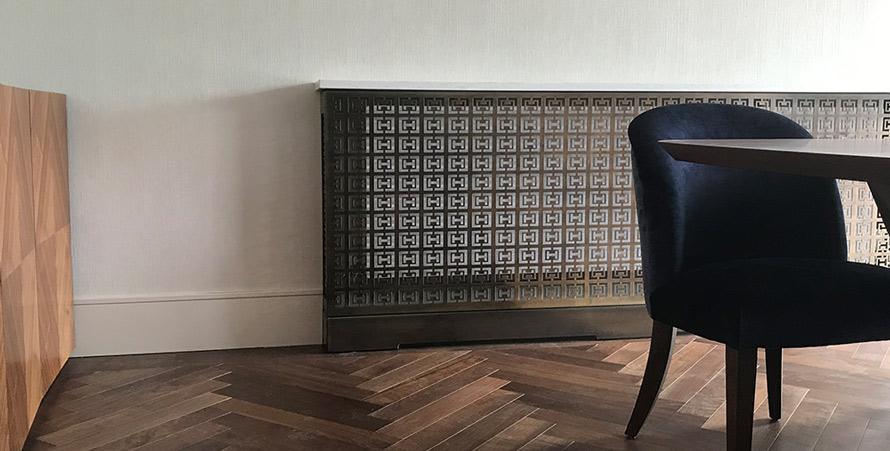 antique brass radiator cover in HALO fretwork