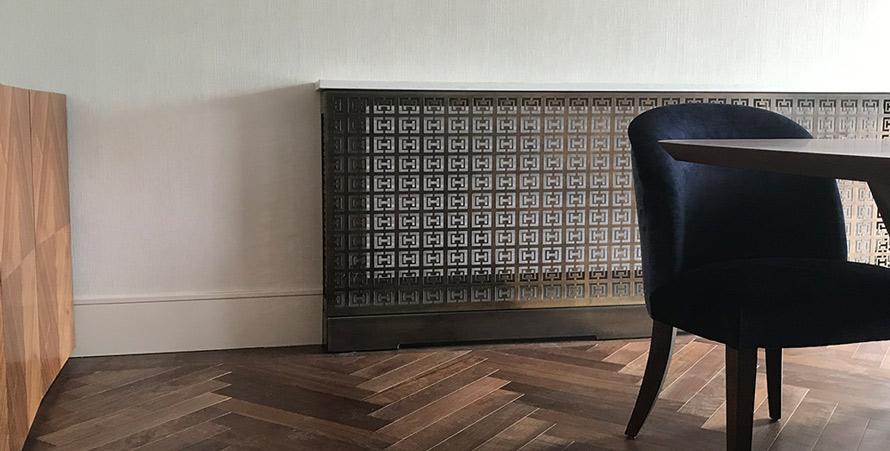 antique brass radiator cover in HALO fretwork