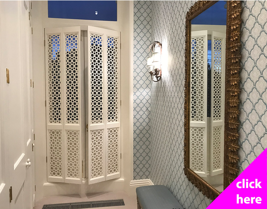 Decorative fretwork bifold doors and screens